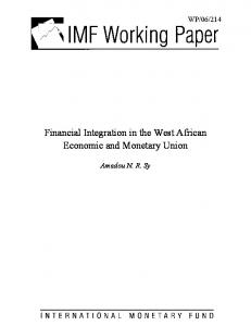 Financial Integration in the West African Economic and ... - SSRN papers