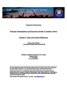 Financial Intermediation and Economic Growth in ... - CiteSeerX