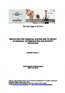 Financial intermediation and poverty reduction