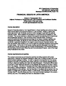 FINANCIAL ISSUES IN LATIN AMERICA