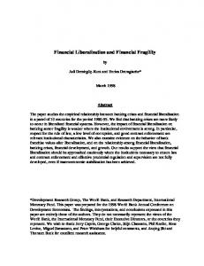 Financial Liberalization and Financial Fragility - World Bank eLibrary