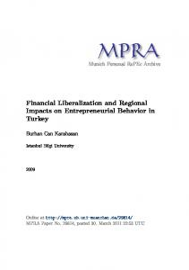 Financial Liberalization and Regional Impacts on Entrepreneurial