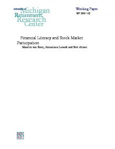 Financial Literacy and Stock Market Participation - Michigan ...