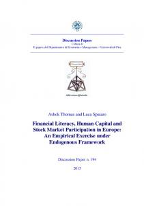 Financial Literacy, Human Capital and Stock Market Participation in ...