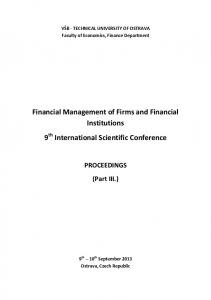 Financial Management of Firms and Financial ...