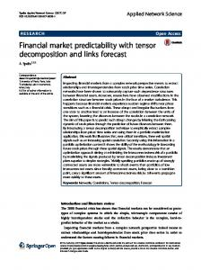 Financial market predictability with tensor ... - Applied Network Science