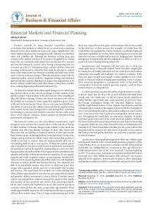 Financial Markets and Financial Planning