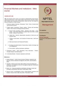 Financial Markets and Institutions - Web course Management - nptel