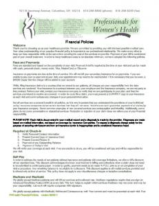 Financial Policies - Professionals for Women's Health