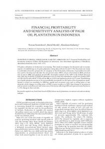 financial profitability and sensitivity analysis of palm oil plantation in ...
