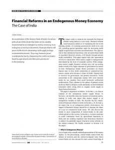 Financial Reforms in an Endogenous Money ...