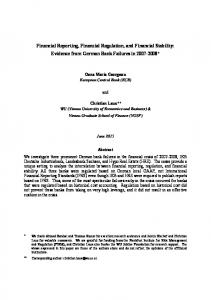 Financial Reporting, Financial Regulation, and ... - (SSRN) Papers
