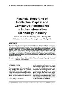 Financial Reporting of Intellectual Capital and Company's ...