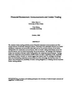 Financial Restatement Announcements and Insider Trading