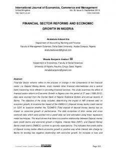 financial sector reforms and economic growth in nigeria - International ...