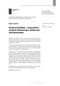 Financial Stability – Comparative Analysis