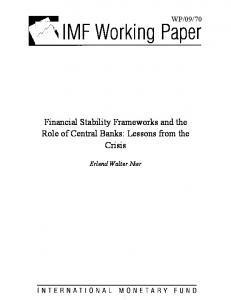 Financial Stability Frameworks and the Role of Central Banks - IMF