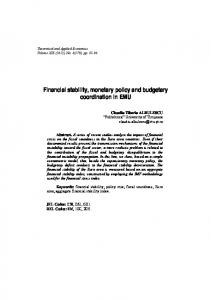 Financial stability, monetary policy and budgetary coordination in EMU