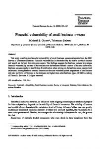 Financial vulnerability of small business owners - CiteSeerX