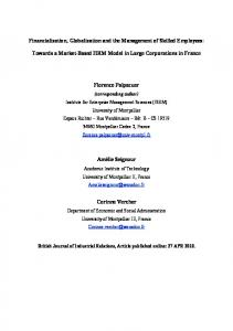 Financialization, Globalization and the Management of ... - CiteSeerX