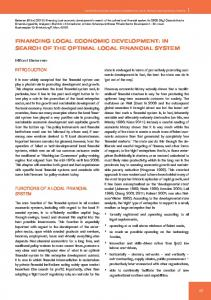 financing local economic development: in search of the optimal local ...