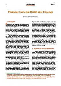 Financing Universal Health-care Coverage - ThaiScience