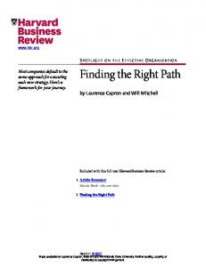 Finding the Right Path