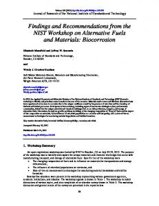 Findings and Recommendations from the NIST Workshop - NIST Page