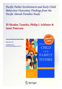 Findings from the Pacific Islands Families Study El-Shadan Tautol