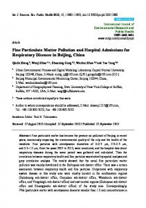 Fine Particulate Matter Pollution and Hospital Admissions for ... - MDPI