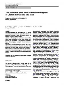 Fine particulate phase PAHs in ambient atmosphere of ... - Springer Link