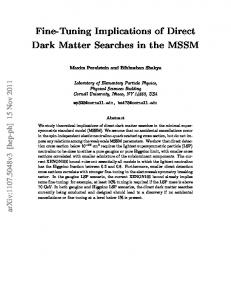 Fine-Tuning Implications of Direct Dark Matter Searches in ... - CiteSeerX