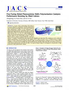 Fine-Tuning Nickel Phenoxyimine Olefin ... - ACS Publications