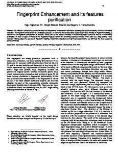 Fingerprint Enhancement and its features purification
