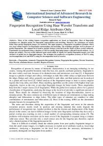 Fingerprint Recognition Using Haar Wavelet ... - Semantic Scholar