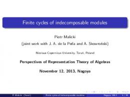 Finite cycles of indecomposable modules - Nagoya University