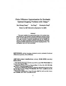 Finite Difference Approximation for Stochastic Optimal Stopping ...