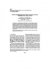 finite difference methods for fractional differential