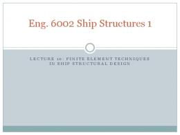 Finite Elements applied to Ships