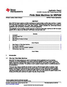 Finite State Machines for MSP430 (Rev. A - Texas Instruments