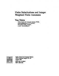 Finite Substitutions and Integer Weighted Finite ... - Semantic Scholar