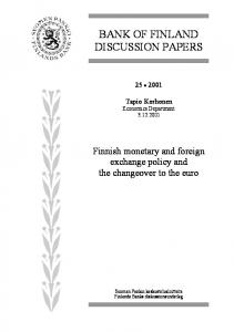 Finnish monetary and foreign exchange policy and ...