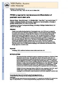 FIP200 is required for maintenance and differentiation of postnatal ...