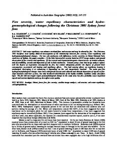 Fire severity, water repellency characteristics and hydro ...