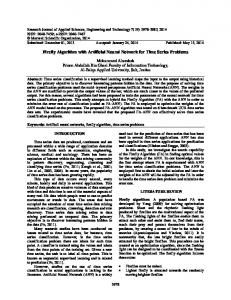 Firefly Algorithm with Artificial Neural Network for ... - Semantic Scholar