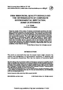 firm resources, quality signals and the determinants of ... - SSRN papers