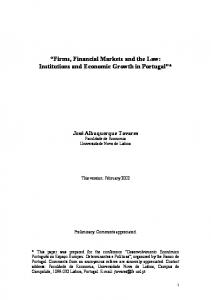 Firms, Financial Markets and the Law: Institutions ... - Banco de Portugal