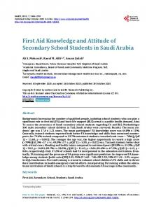 First Aid Knowledge and Attitude of Secondary School Students in