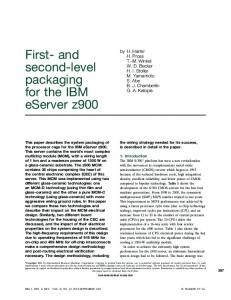 First- and second-level packaging for the IBM eServer z900 - UCSD CSE
