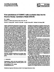 First assimilations of COSMIC radio occultation data into the Electron ...